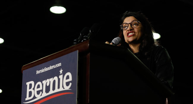 US representative from Michigan Rashida Tlaib speaks before Democratic presidential hopeful Vermont Senator Bernie Sanders addresses his supporters during a campaign rally at TCF Center in Detroit, Michigan, on March 6, 2020. JEFF KOWALSKY / AFP