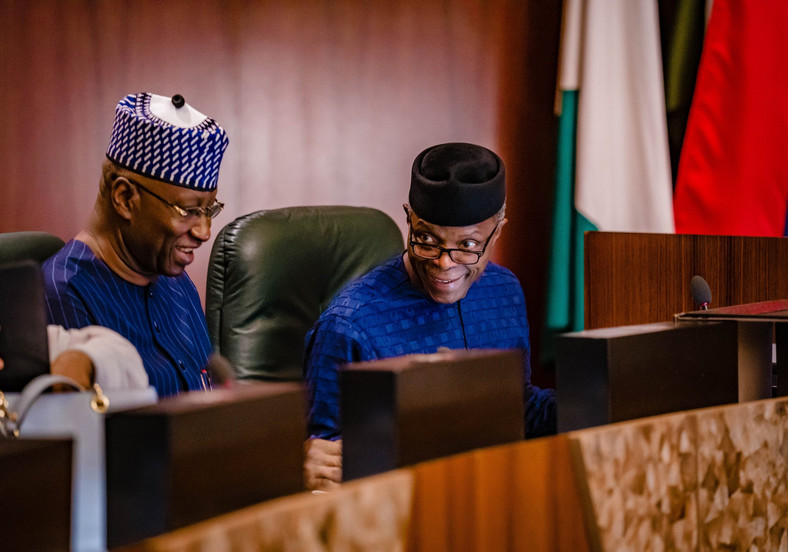 Vice President Yemi Osinbajo (Right) and Secretary to the Government of the Federation, Boss Mustapha. (Presidency)