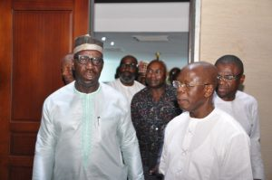 Obaseki (left) and Oshiomhole (right) were the best of friends before the former replaced the latter as governor in 2016, but their relationship has gone sour since then [Facebook/Governor Godwin Obaseki]